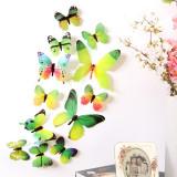 Fluturi decorativi 3D ( 12 buc/set ) verde