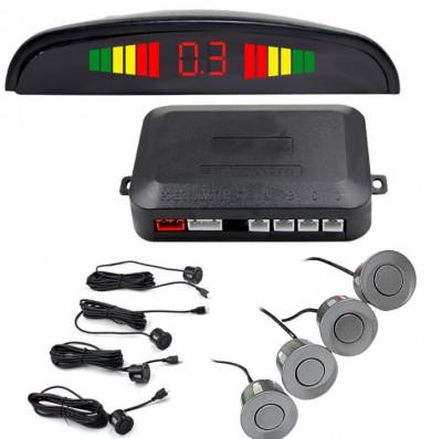 Set Senzori Parcare Auto Detector Parktronic Display Radar Monitor 4 Senzori GRI Inchis foto