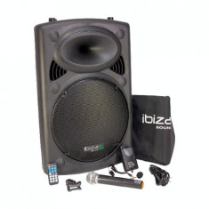 Boxa portabila ibiza, 800w , bt, sd, usb, karaoke, 2 microfoane, husa
