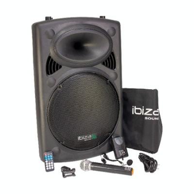 Boxa portabila ibiza, 800w , bt, sd, usb, karaoke, 2 microfoane, husa foto