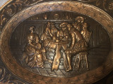 Panoplie veche belgiana,scena cu cavaleri in basorelief