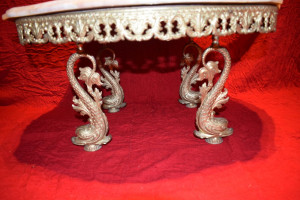 Masuta din bronz cu blatul din marmura  76x36 cm nr 4