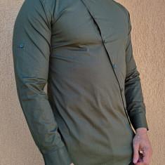 Camasa asimetrica - camasa verde - camasa barbati slim - camasa barbati