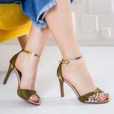 Sandale Liesi verzi cu toc-rl