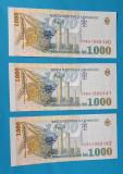 Lot x trei bancnote serie consecutiva Bancnota 1000 Lei 1998 - UNA MIE Lei