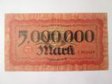 Rara! Germania-Wurttemberg Notebank Stuttgart 5 milioane Mark/Marci 1923