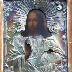 Iisus Pantocrator,Icoana Ruseasca cu ferecatura din argint, 1856