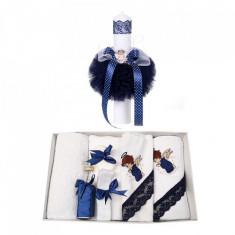 Trusou botez cu ingeras si lumanare pentru baietel, decor bleumarin, Denikos®...