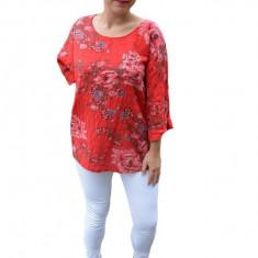 Bluza dama Eda cu imprimeu floral,din bumbac,nuanta de rosu, 50, 52, 54, 56