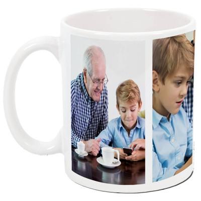 Cana personalizata, model cu 3 poze, ceramica alba, 325ml foto