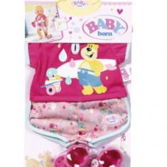 Pijamale scurte si papucei pentru papusa Baby Born
