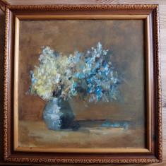 Vas cu flori – pictură în ulei pe pânză, nesemnat
