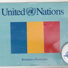 bnk cp Insigna ONU + carte postala ONU Romania