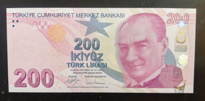 Bancnote Turcia 9. Emisiunea 200 Turkish Lira 2017 Serie  C099 UNC foto