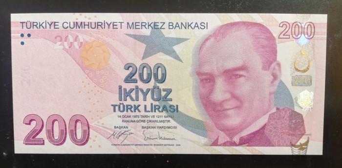 Bancnote Turcia 9. Emisiunea 200 Turkish Lira 2017 Serie  C099 UNC