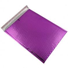 Set 10 plicuri cu bule antisoc, spatiu destinatar-expeditor, laminate, termoizolante, autoadezive Office Depot, 36x27 cm, Mov