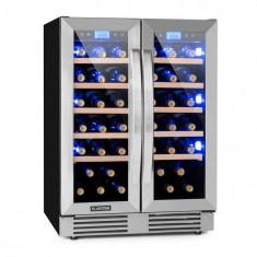 Klarstein Vinovilla Duo 42, vinotecă cu două zone, frigider, 126 l, 42 sticle., 3 LED-uri de culoare, ușă din sticlă