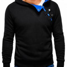 Hanorac pentru barbati cu gluga inchidere laterala fermoar si capse sport paco negru albastru