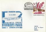 România, Primul zbor Bucureşti - Paris cu Airbus A310, plic, Bucureşti, 1992