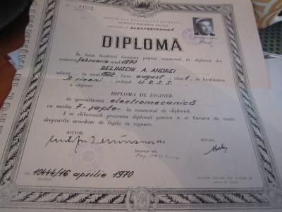 diploma de inginer la electromecanica iasi 1970 c21 foto