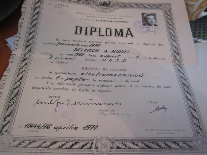 diploma de inginer la electromecanica iasi 1970 c21