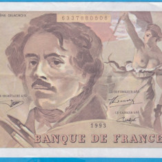 (1) BANCNOTA FRANTA - 100 FRANCS 1993, PORTRET E. DELACROIX, STARE FOARTE BUNA
