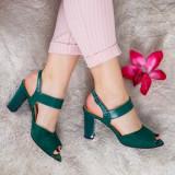 Sandale Piele Rozmin verzi cu toc gros