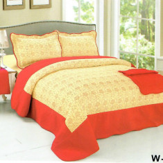 Cuvertura de pat + 2 Fete de Perne - Pat 2 Persoane - 100% Bumbac Brodat - W-007