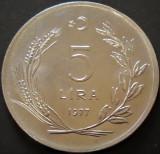 Moneda 5 LIRE - TURCIA, anul 1977  *cod 3147 - MODEL MARE / NECIRCULATA, Europa