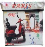 Taburet textil / cutie de depozitare Paris