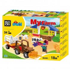 Joc constructie Blocki mubi, Ferma+tractor, 32 piese