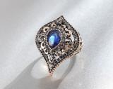 Inel regal oriental superb tribal masiv piatra albastru safir cristale zirconia