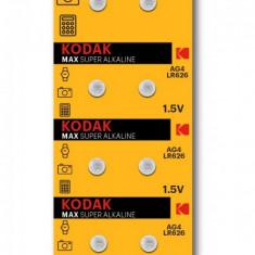 Baterii alcaline AG4 LR626, blister 10 bucati, 1.5V, Kodak
