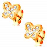 Cumpara ieftin Cercei din aur galben 14K - fluture strălucitor, zirconii rotunde transparente