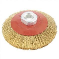 Perie cupa pentru polizor unghiular, MTX 100 mm, М14, sarma ondulata din alama