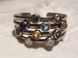 BRATARA argint cu PIETRE SEMIPRETIOASE multiple REGLABILA exceptionala MASIVA