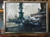 28 Cafenea langa statuie Tablou cu peisaj urban citadin peisaje urbane 51x38 cm