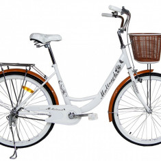 Bicicleta de Oras MalTrack White Caffe, Roti 26 Inch, Cos Cumparaturi si Motive Florale