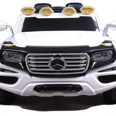 Masinuta electrica Mercedes G-Force 12V Scaun tapitat #Alb