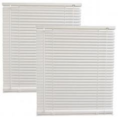2 x Jaluzele din plastic albe, jaluzea PVC orizontala pentru geam 55x120cm