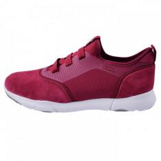 Pantofi tip adidasi de barbati, din textil si piele, Geox, U825AA-C7031-I4, bordo