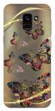 Husa Silicon Soft Upzz Print Samsung Galaxy A8 2018 Model Golden Butterflys