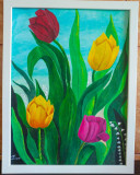 "Tablou pictat manual pictura acrilica ""Sweet Tulips"""