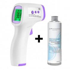 Cumpara ieftin Termometru digital non contact cu infrarosu iUni T3 + Solutie igienizanta pentru maini 250ml