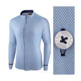 Camasa pentru barbati, albastra, slim fit - Neo Elegance, 3XL, L, M, S, XL, XXL, Maneca lunga