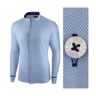 Camasa pentru barbati, albastra, slim fit - Neo Elegance foto