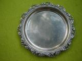 Tava veche argintata, monograma M M