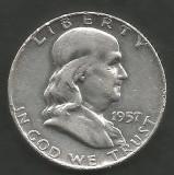 SUA - STATELE UNITE 1/2 - HALF DOLLAR ( 50 CENTI ) 1957 , FRANKLIN lit D  ARGINT, America de Nord