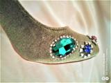 Pantofi de lux Botinelii , verde smarald - 22 cm la interior ( pret de en-gross), 35, Cu toc