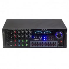 Amplificator profesional Vlliodor, Radio FM, Bluetooth, USB, slot card SD, 3 canale microfon, egalizator